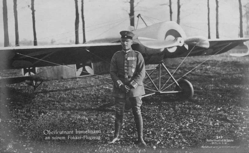Max Immelmann in front of an E.III