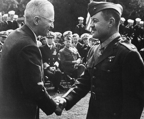 Pappy being awarded the MoH