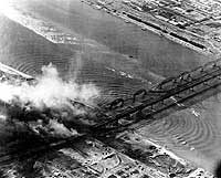 bombing Yalu River bridge in Korean War