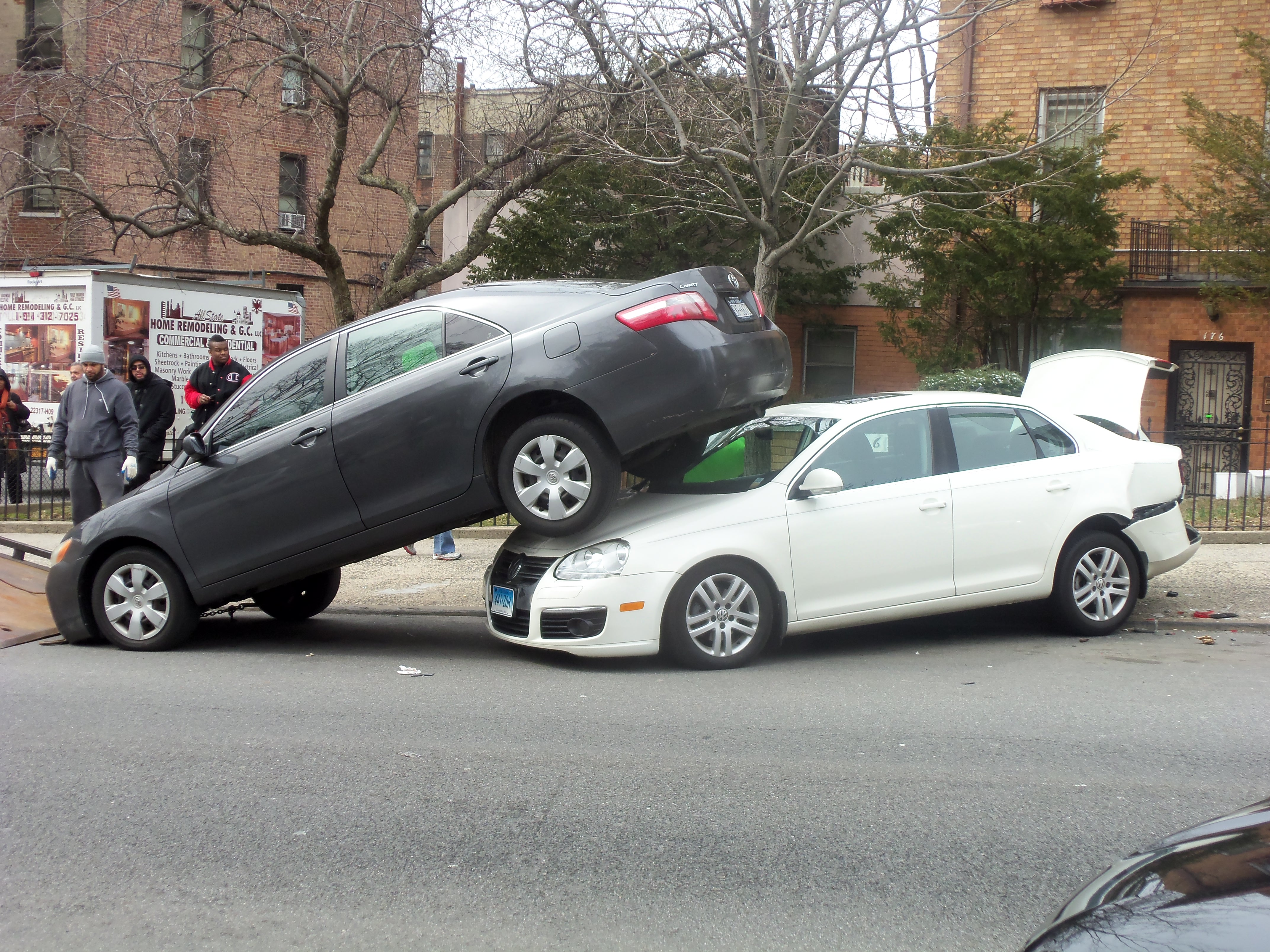 one car on top of another