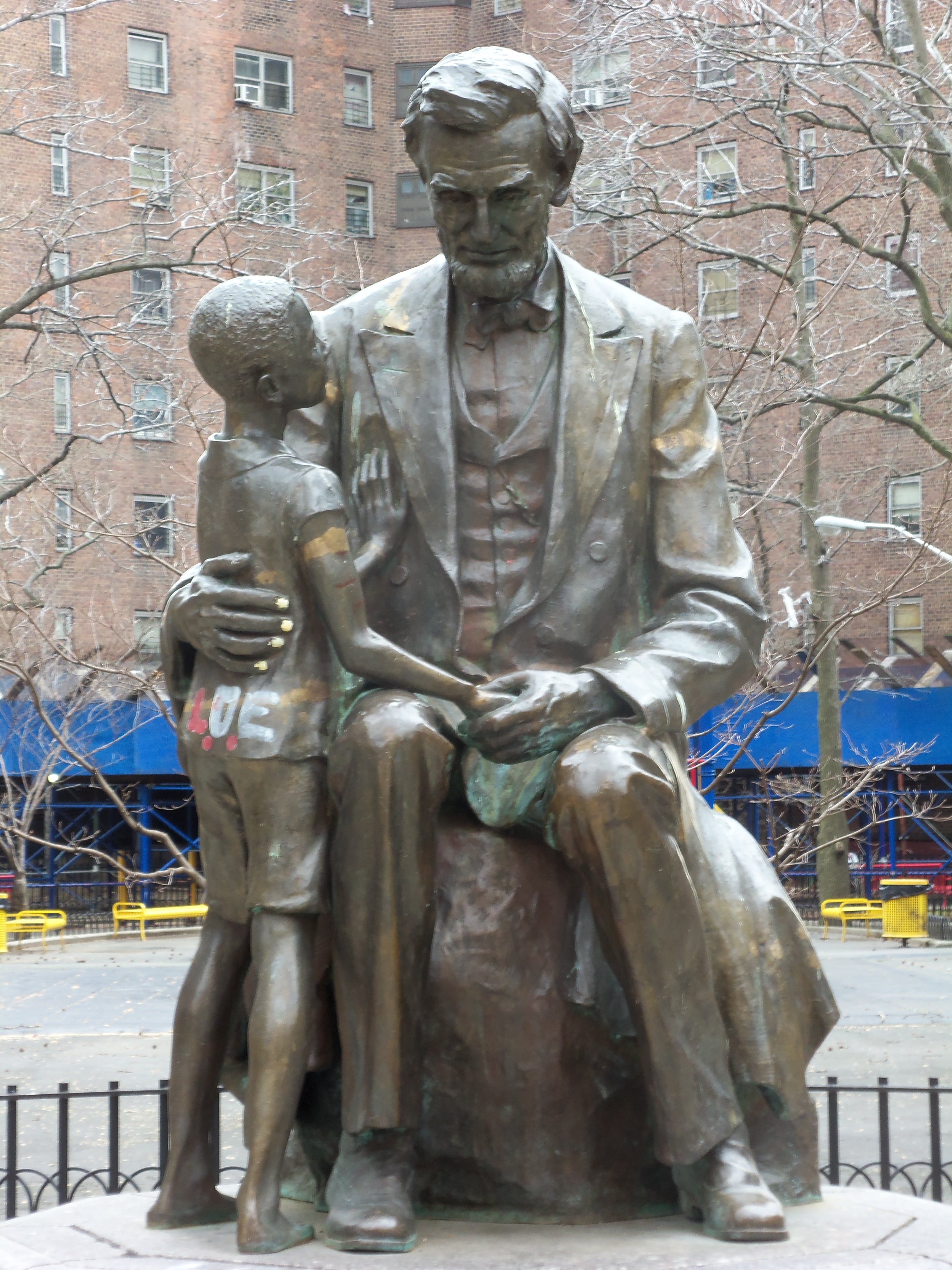 statue at Abraham Lincoln Houses