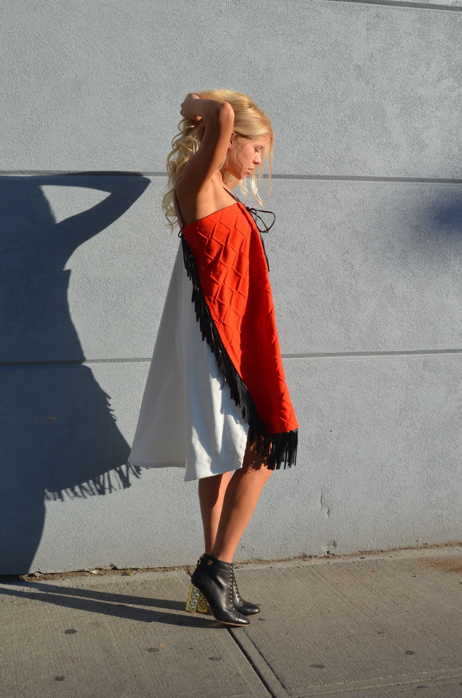 Red and white fringed