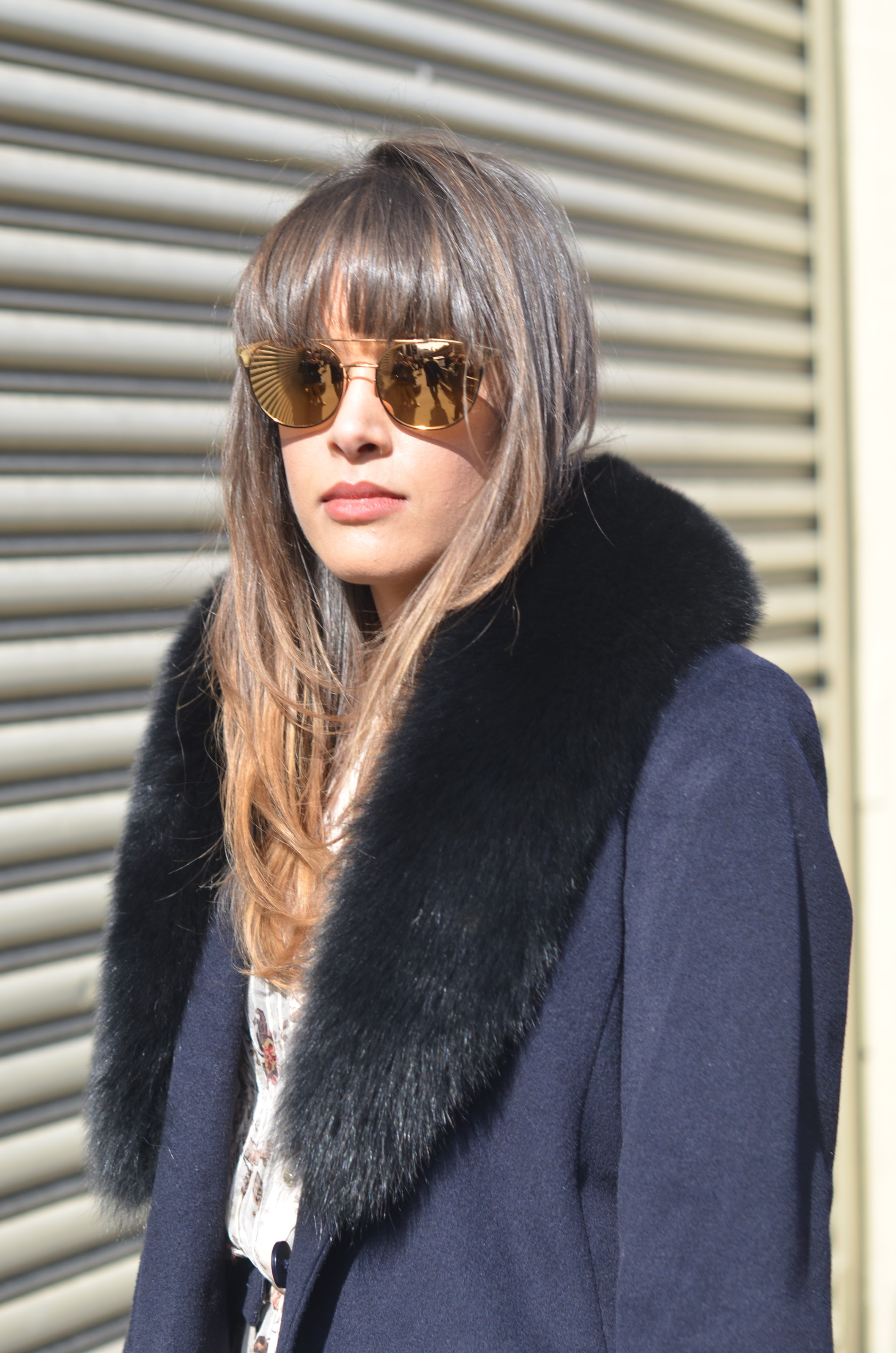 brunette in sunglasses at NYFW