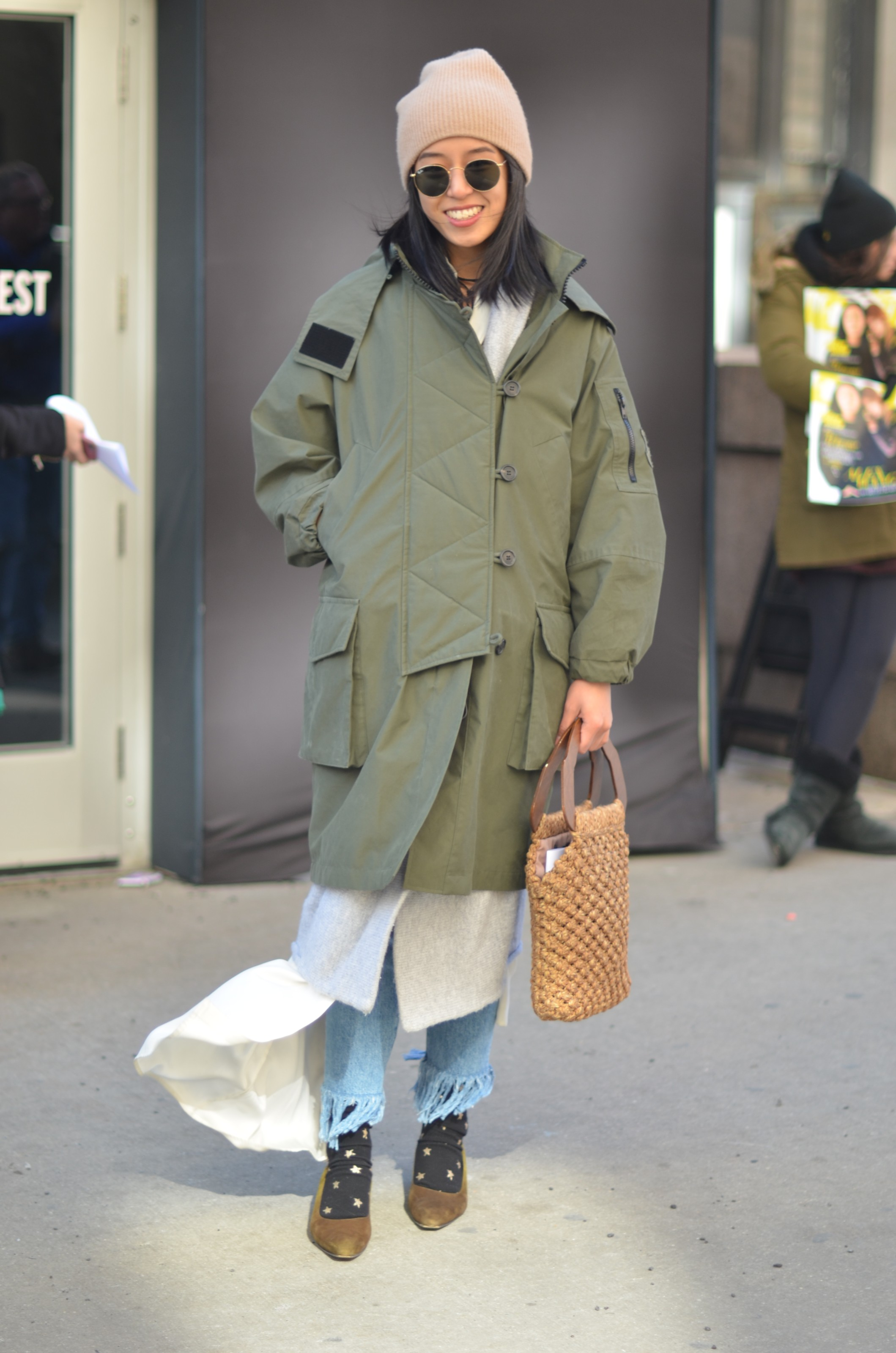 Asian girl in winter outfit