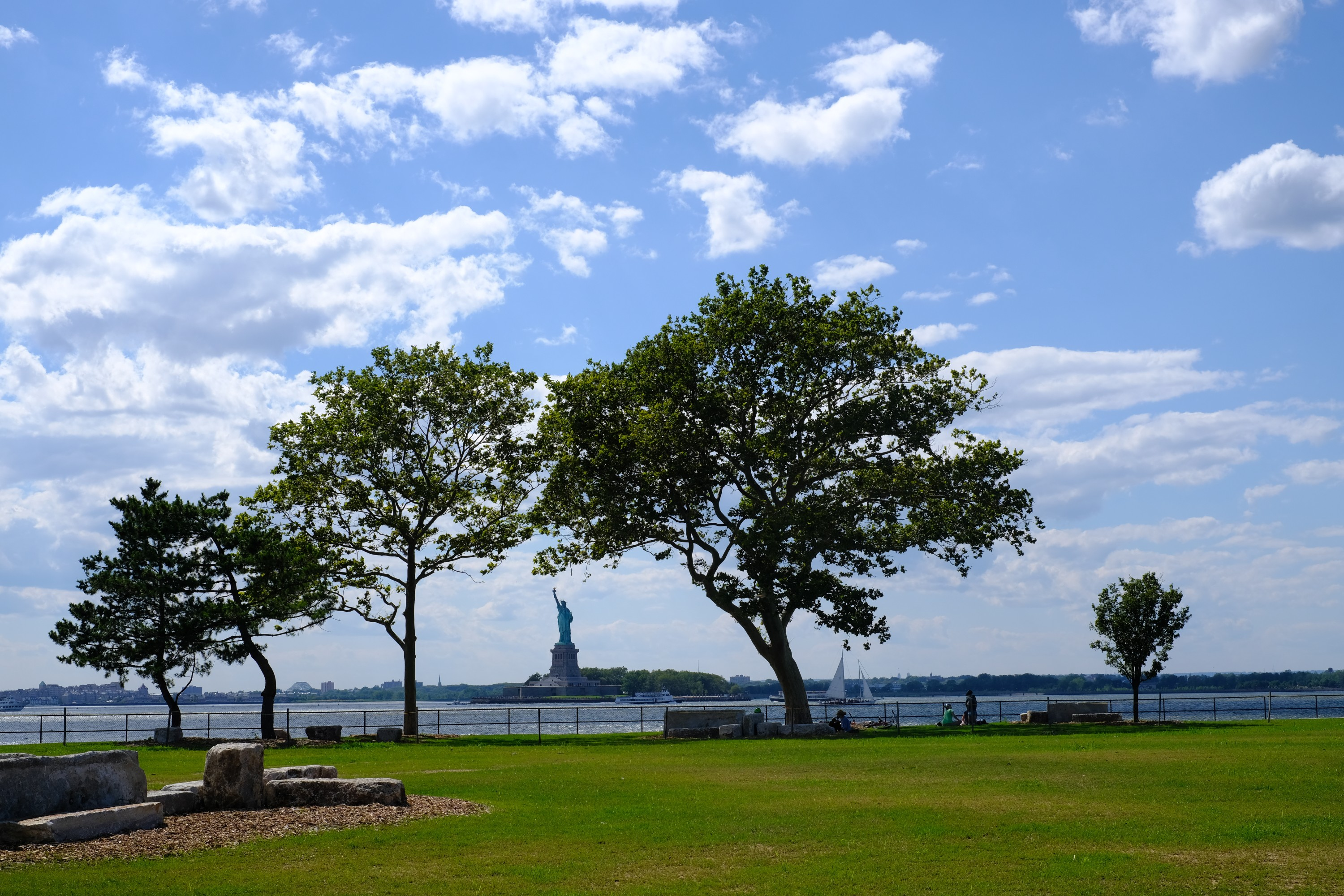 view of Statue of Liberty from Picnic Point