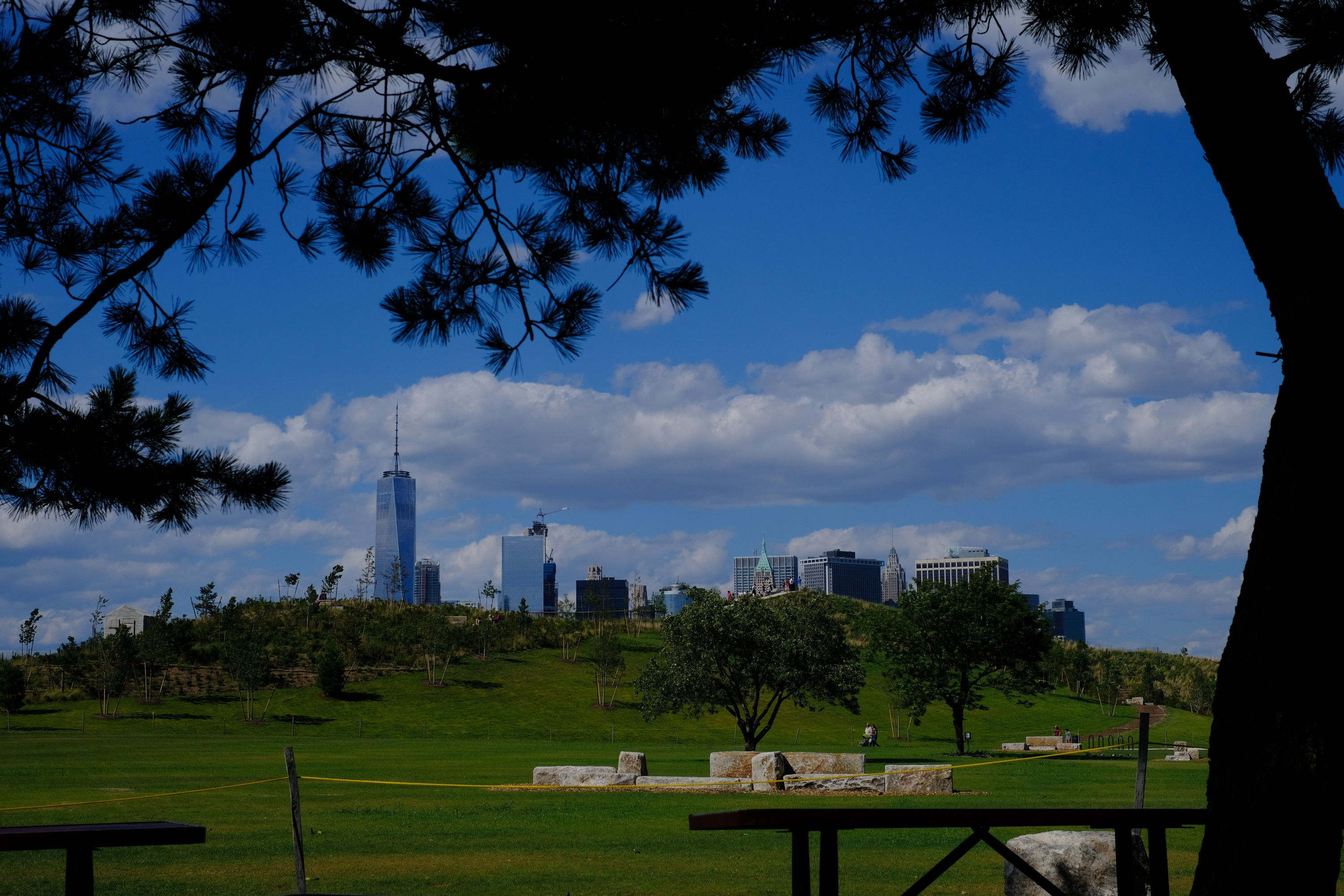 view of Manhattan skyline from Governors Island