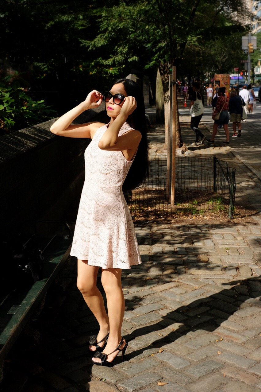 Japanese girl in pale pink dress