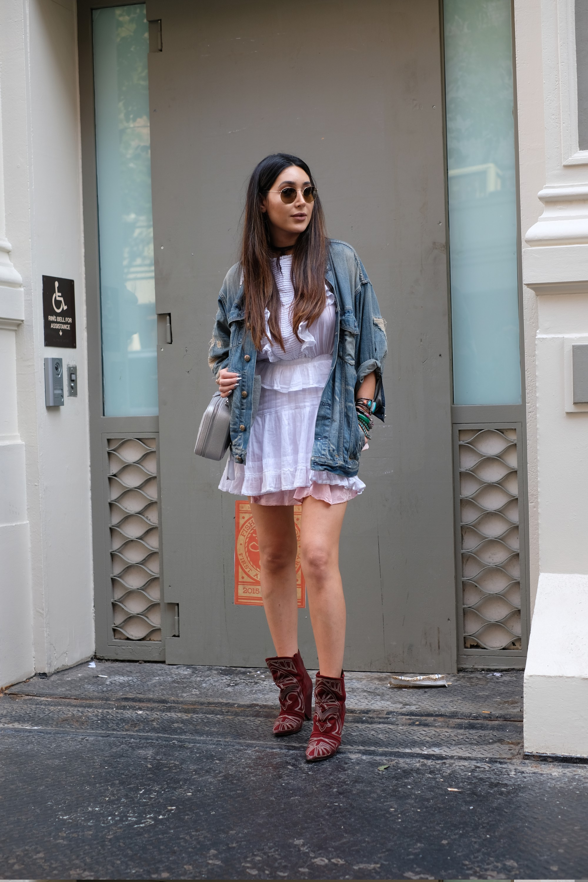 frilly skirt and denim jacket