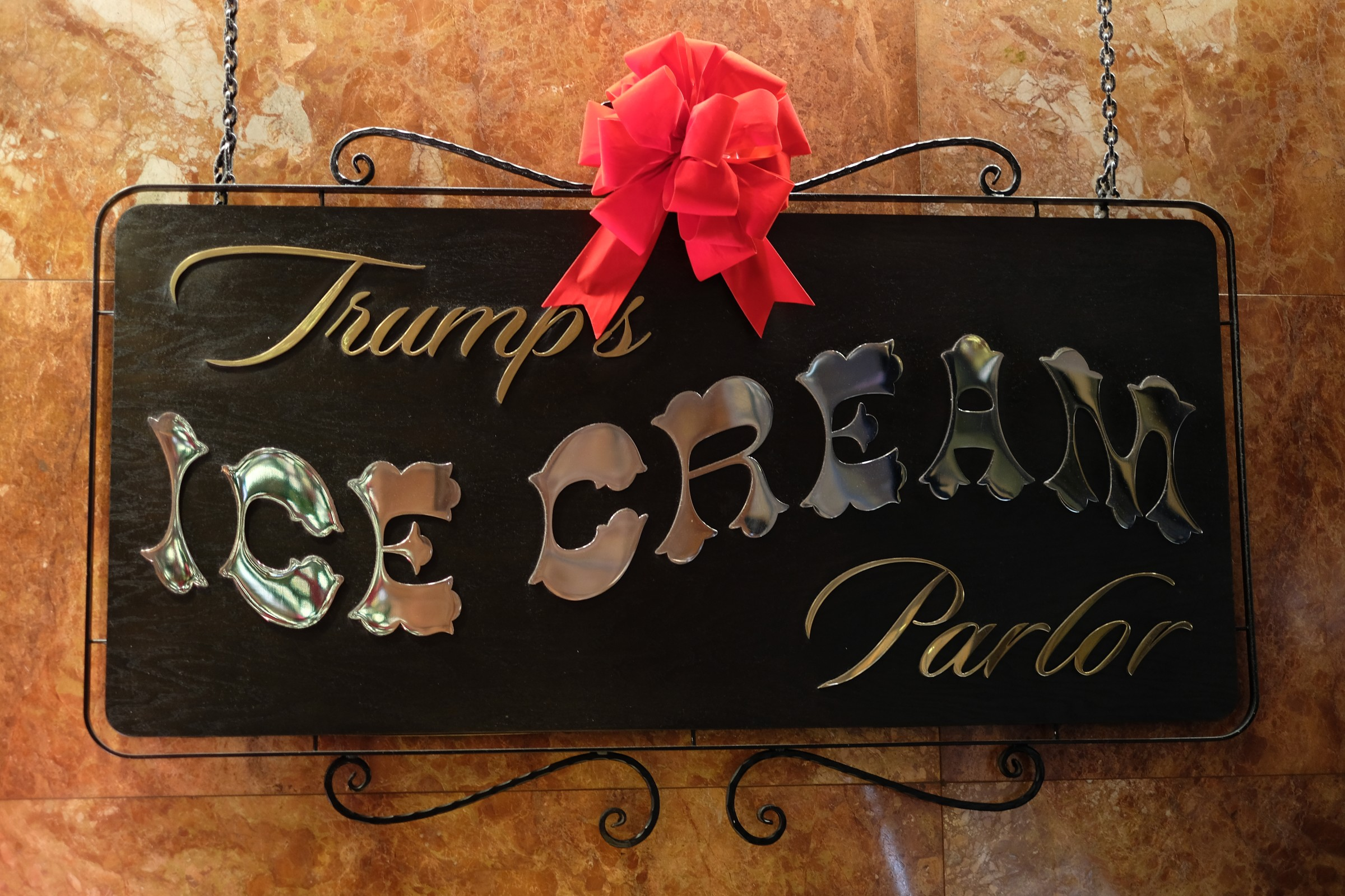 ice cream sign inside Trump Tower