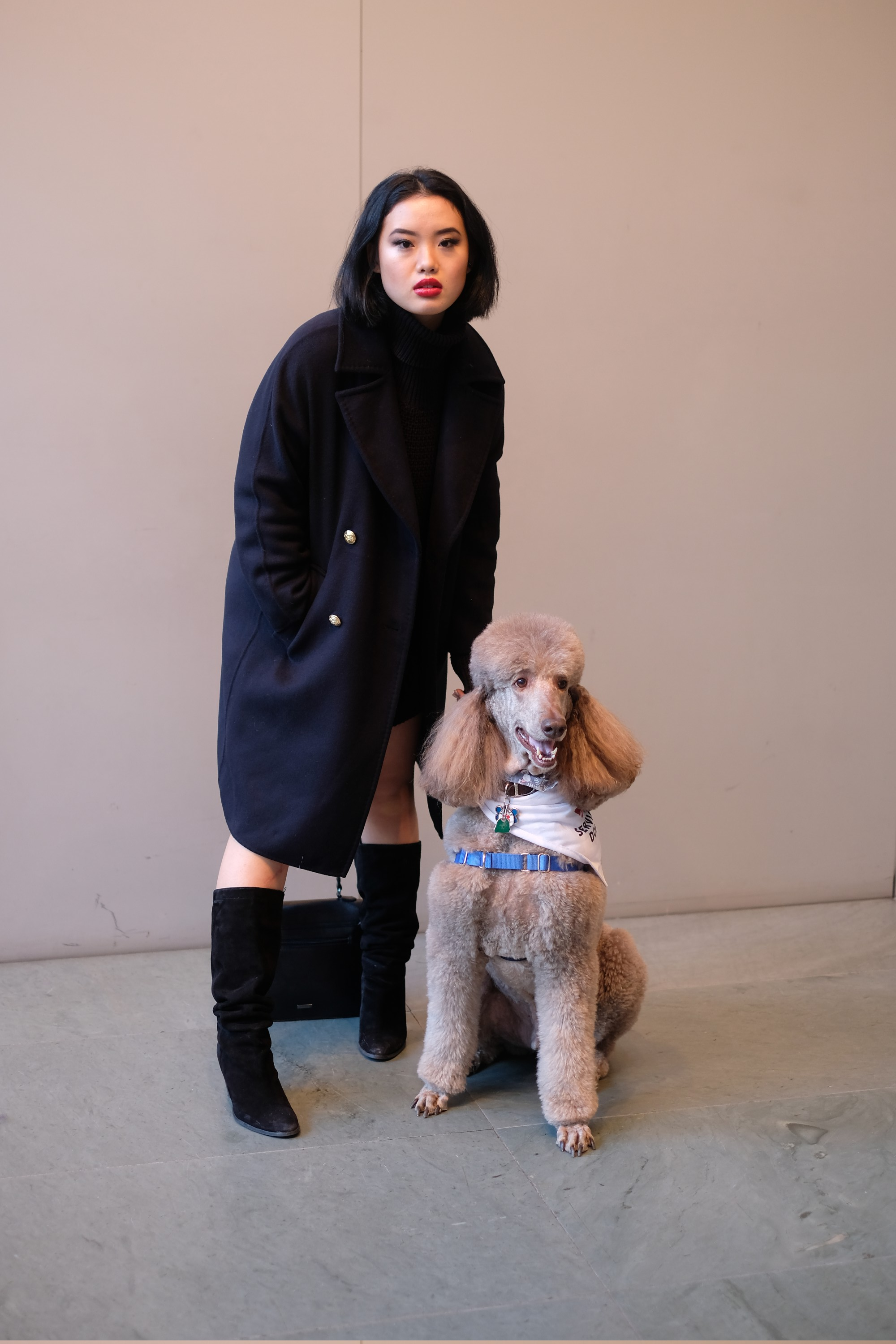 Chinese model with dog