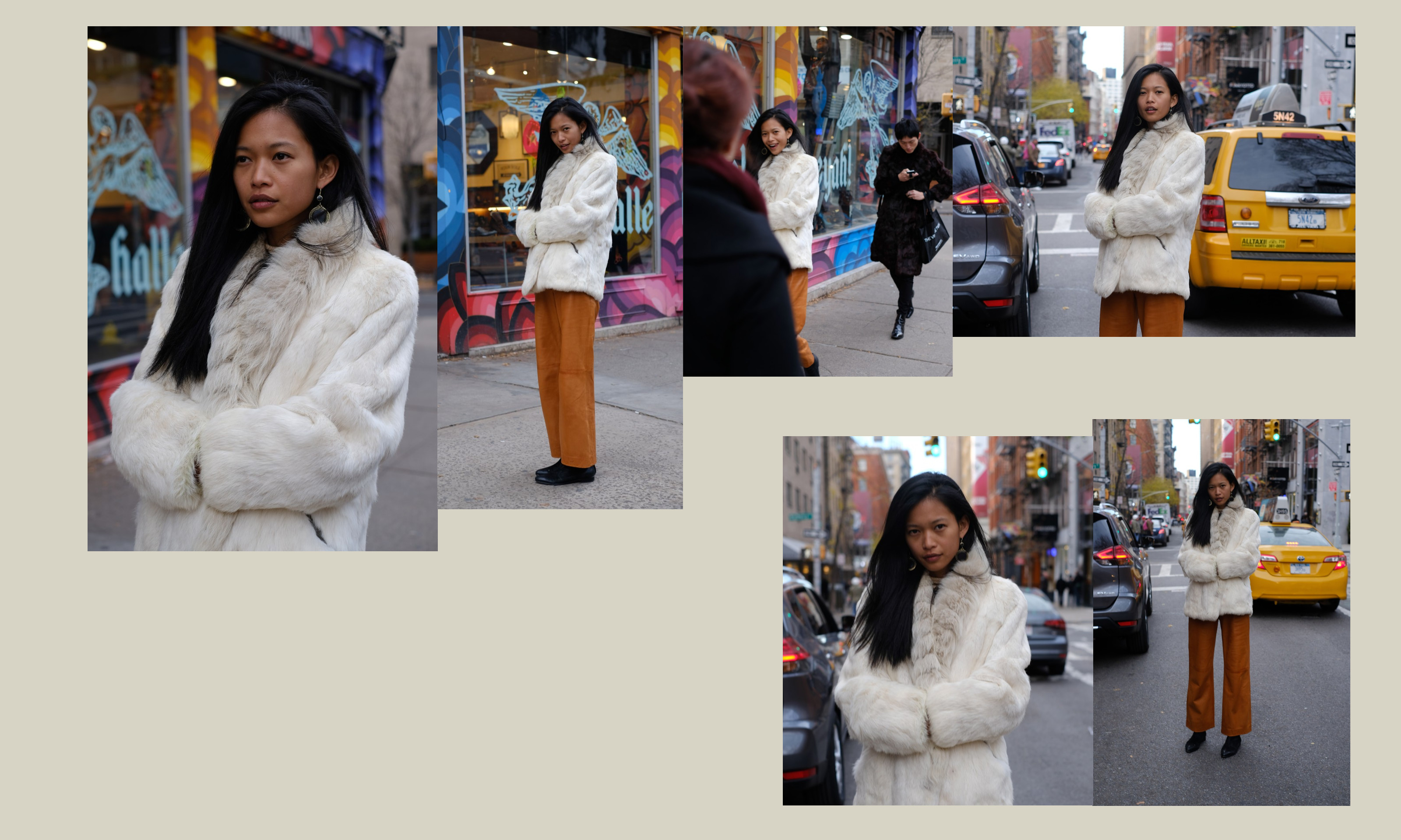 photo collage of model in white jacket