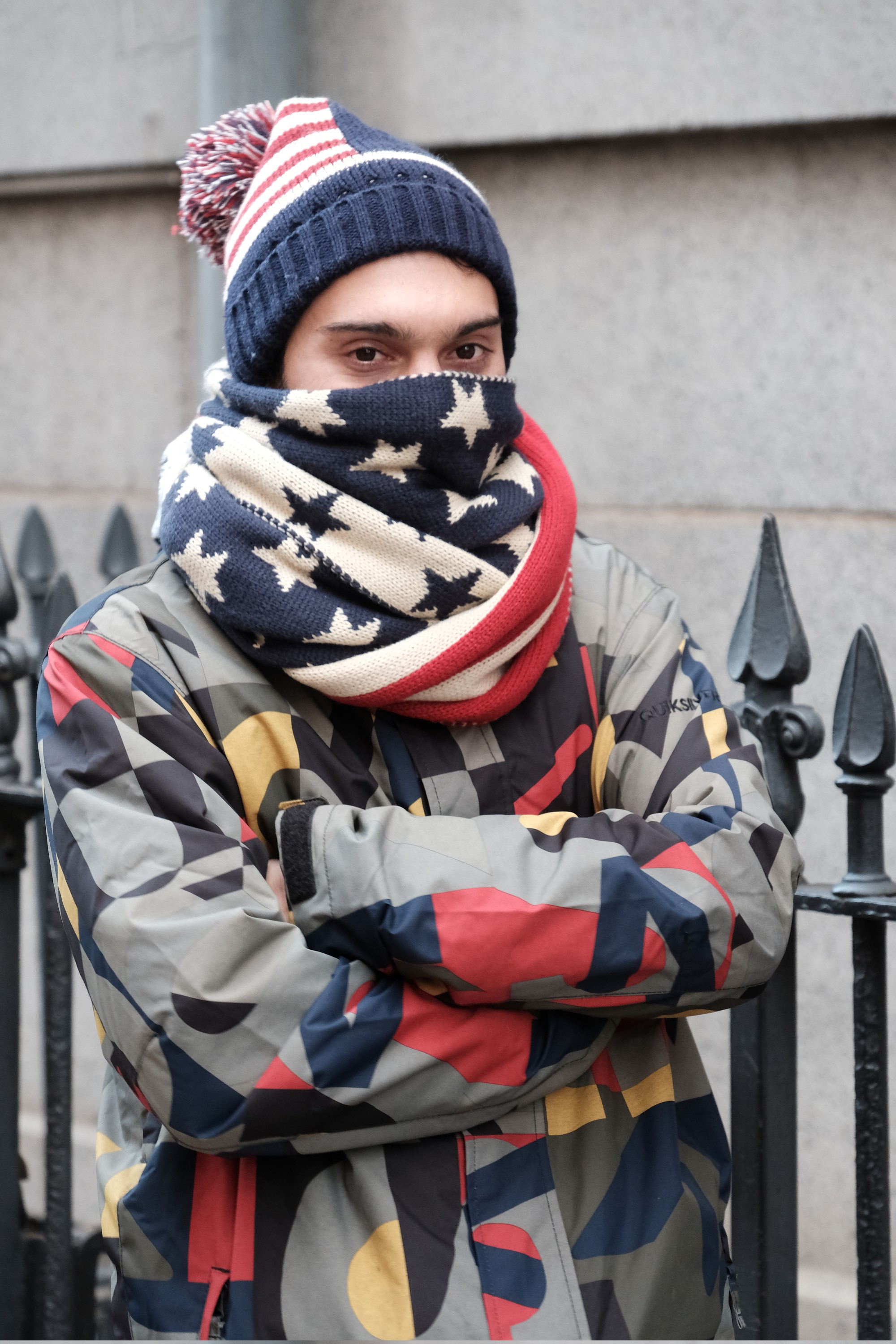 Protester wrapped in US flag