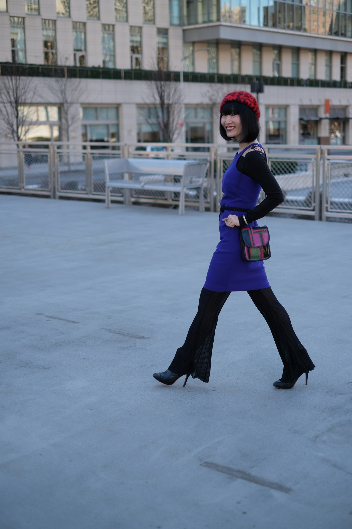 japanese girl in purple dress and red beret