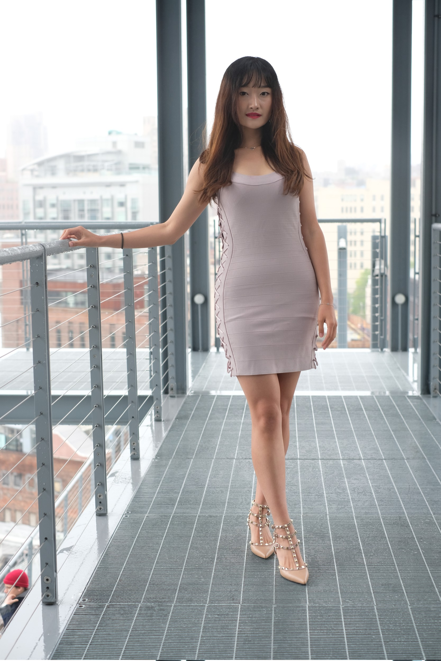 girl in taupe dress