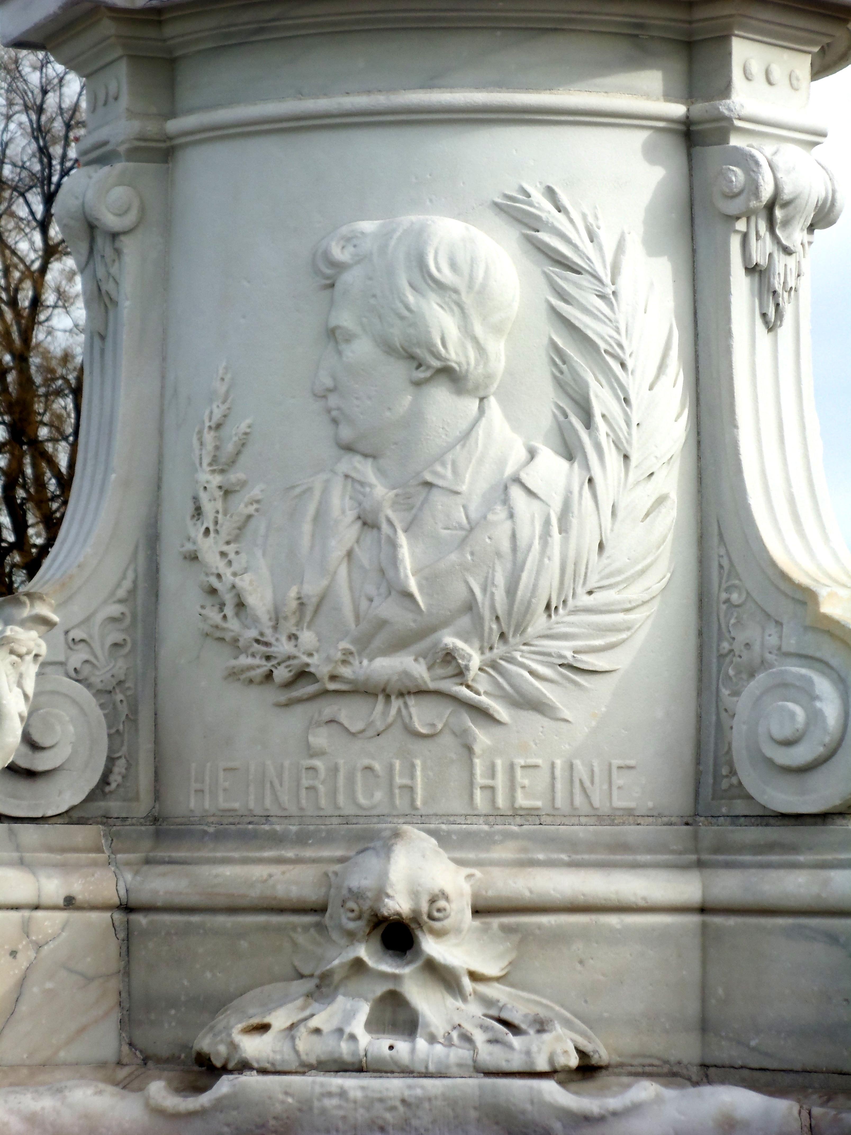 Heinrich Heine detail on Lorelei statue
