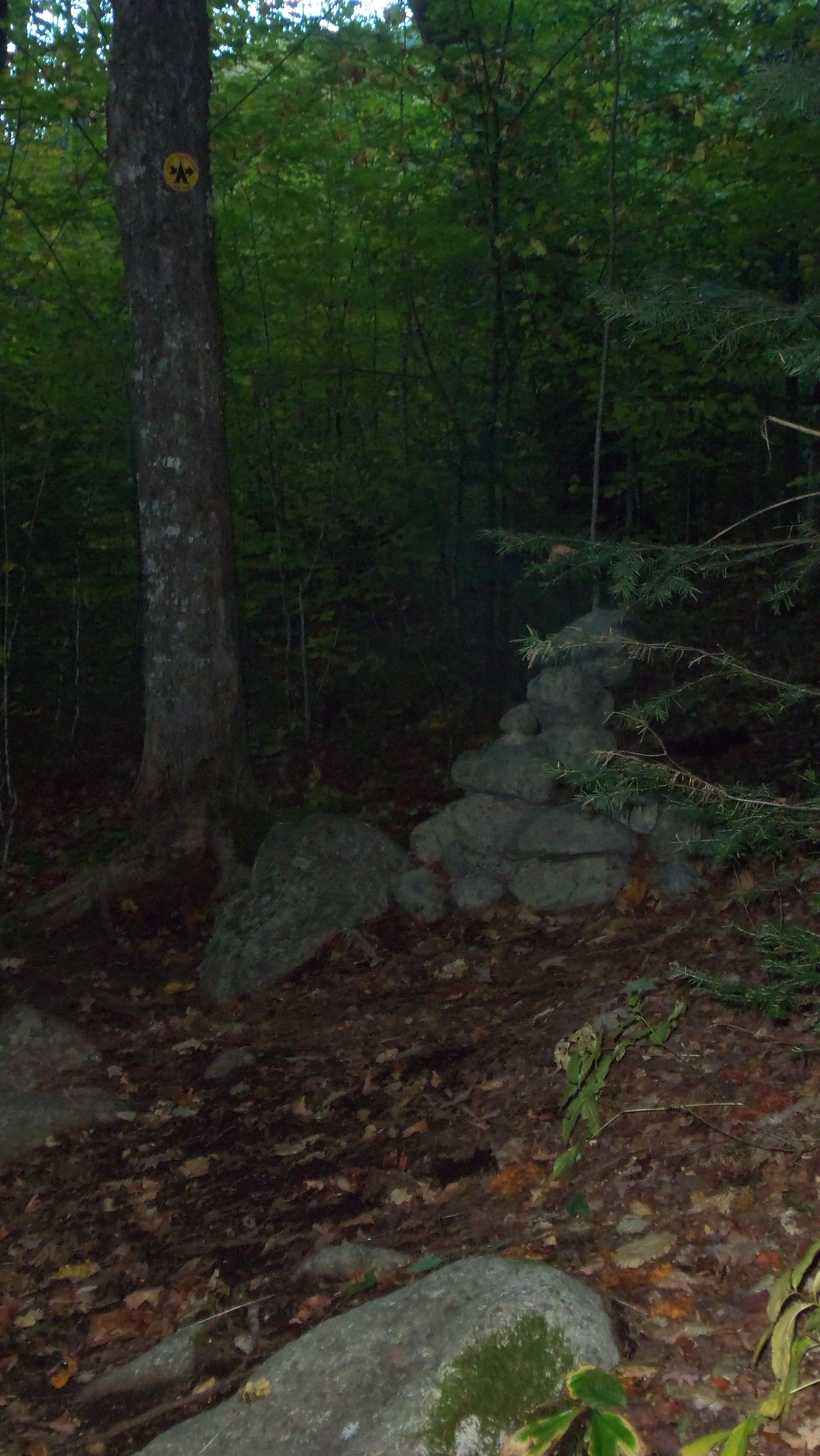 cairn marking Slide Brookherd path