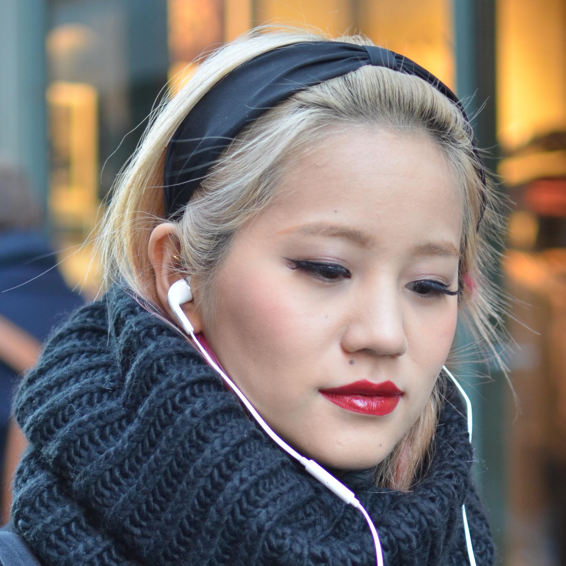 blonde Asian woman