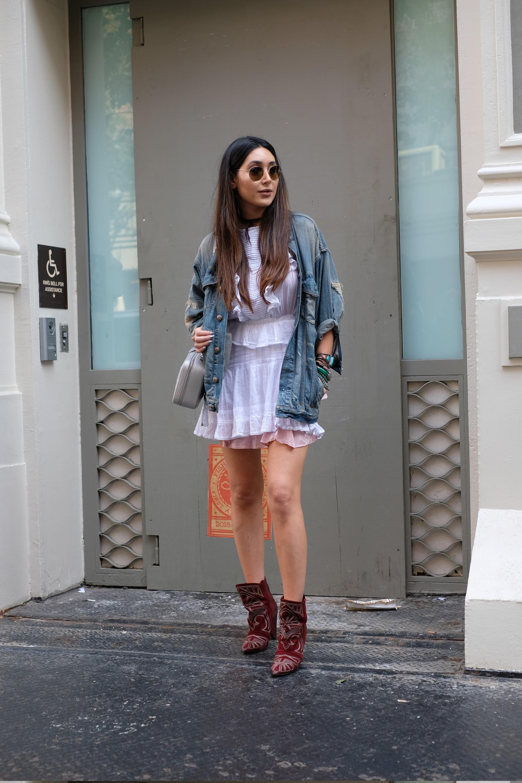 frilly skirt and denim jacket
