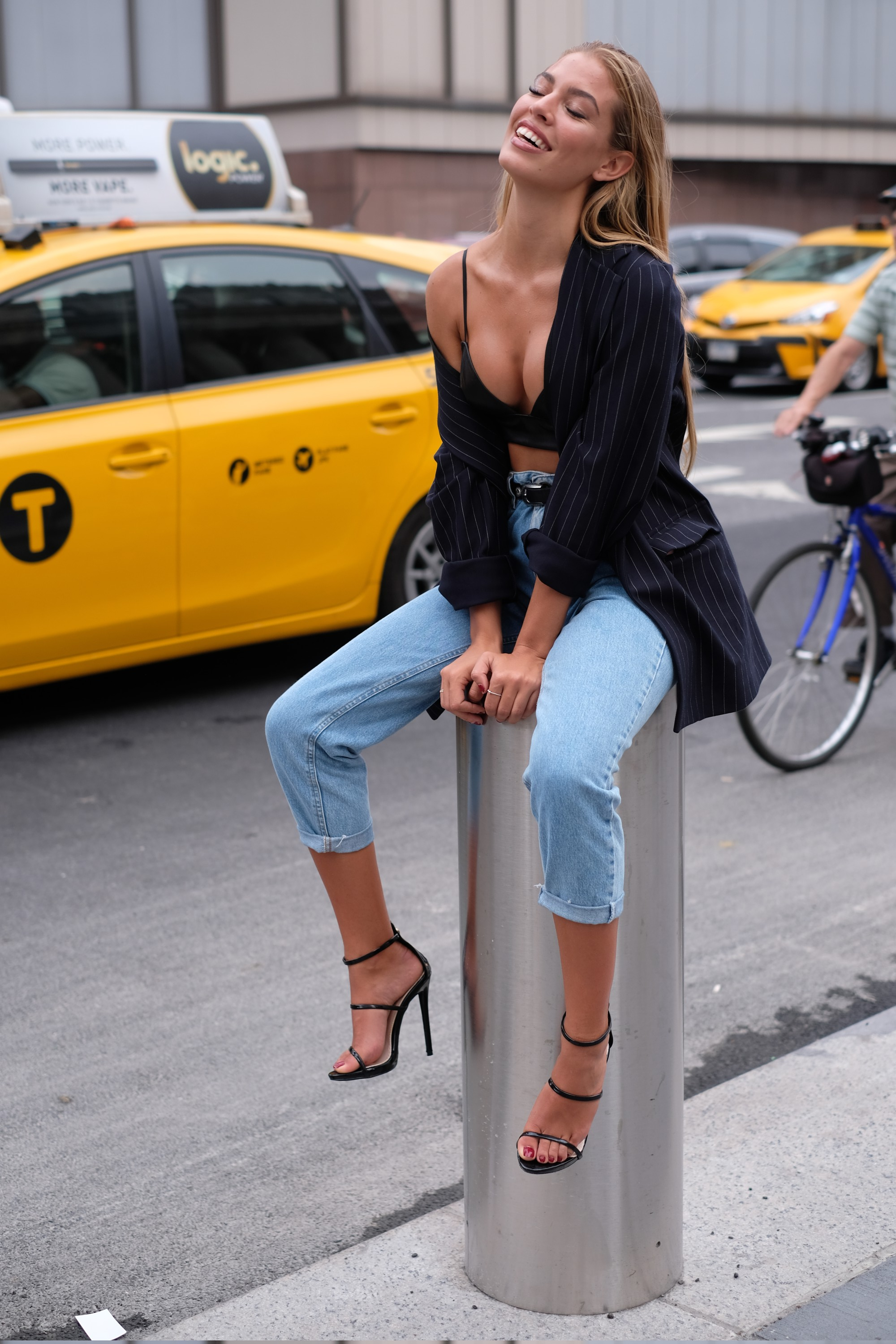 low cut top and taxi