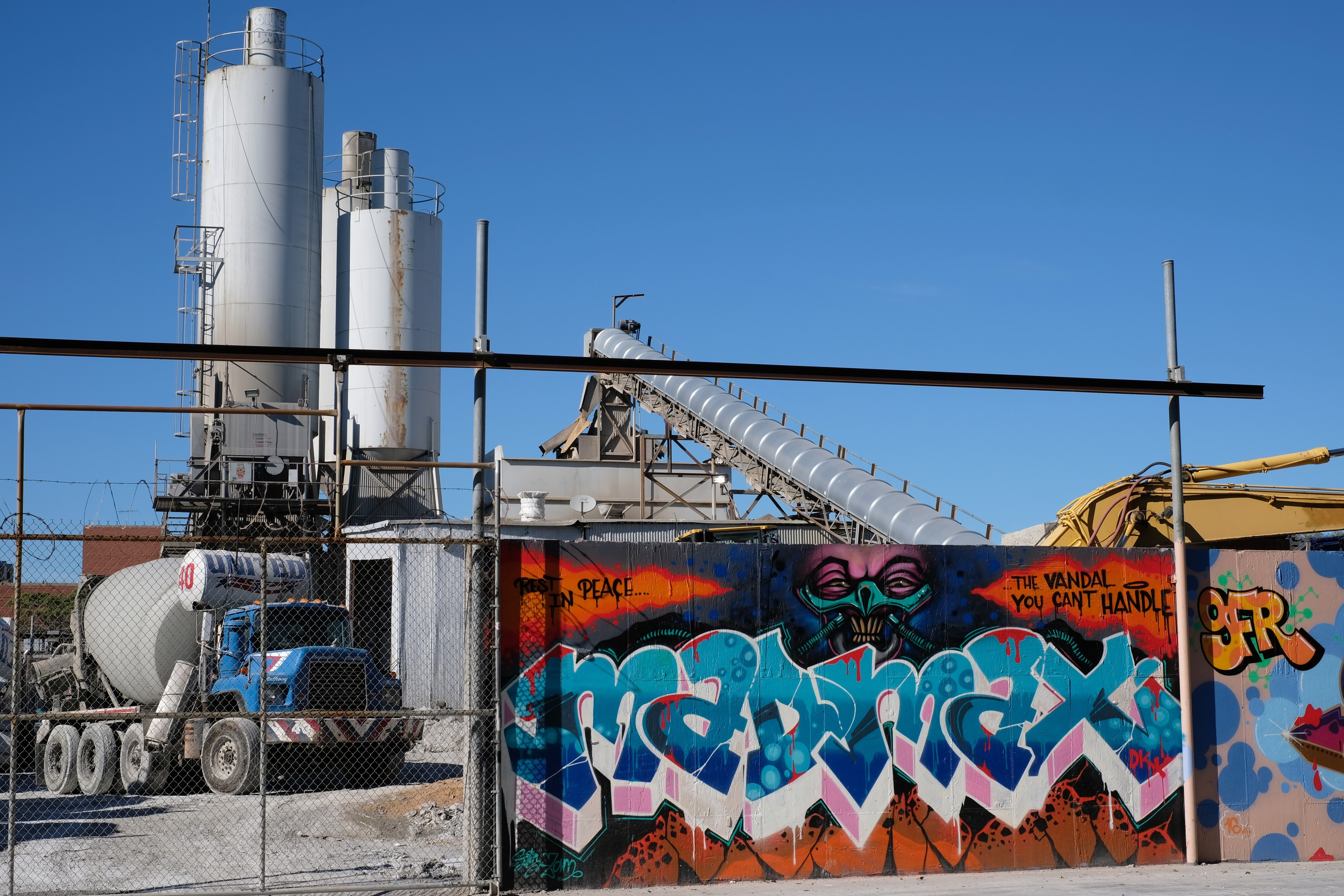 concrete plant and colorful graffiti