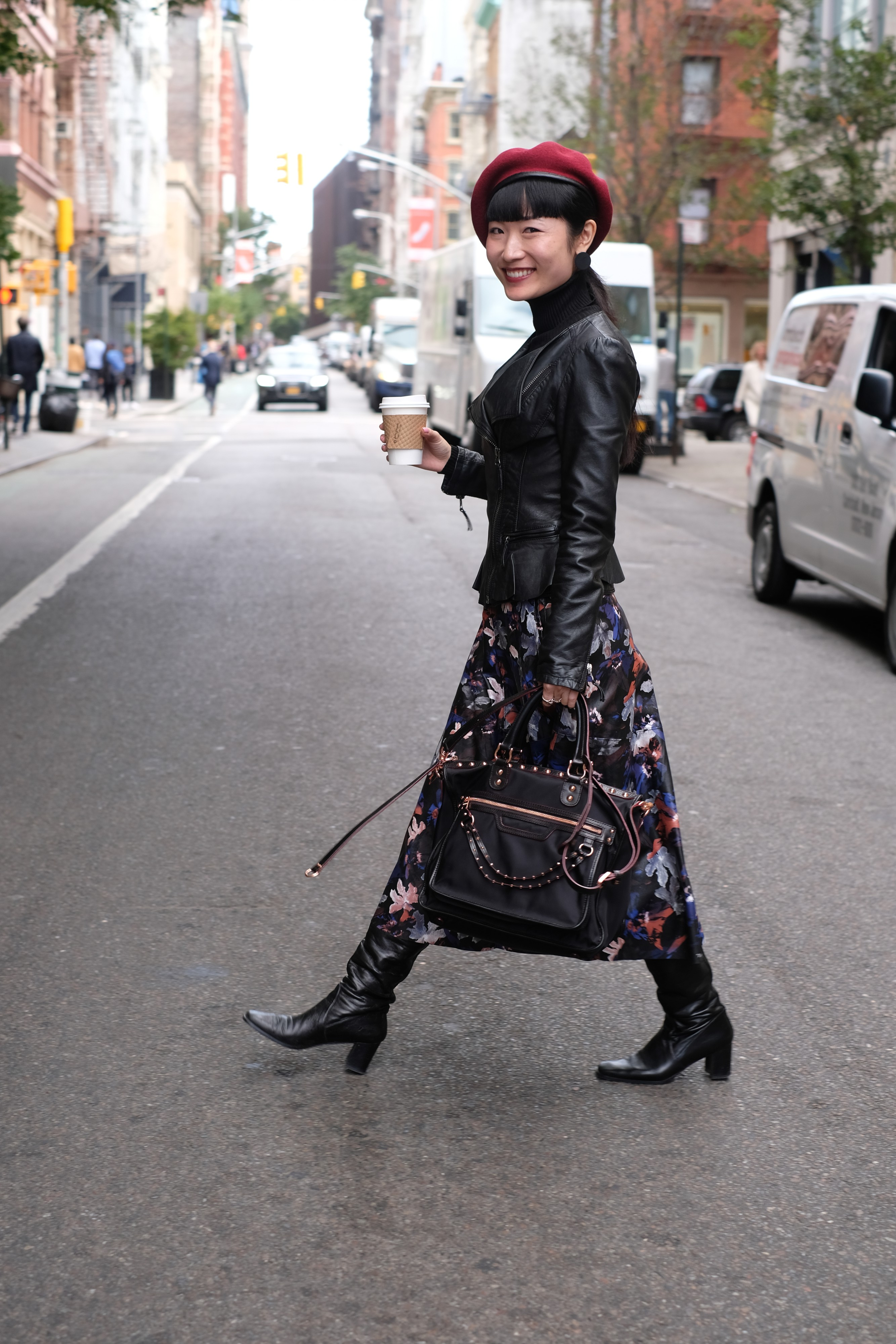 Japanese girl in floral dress and black jacket