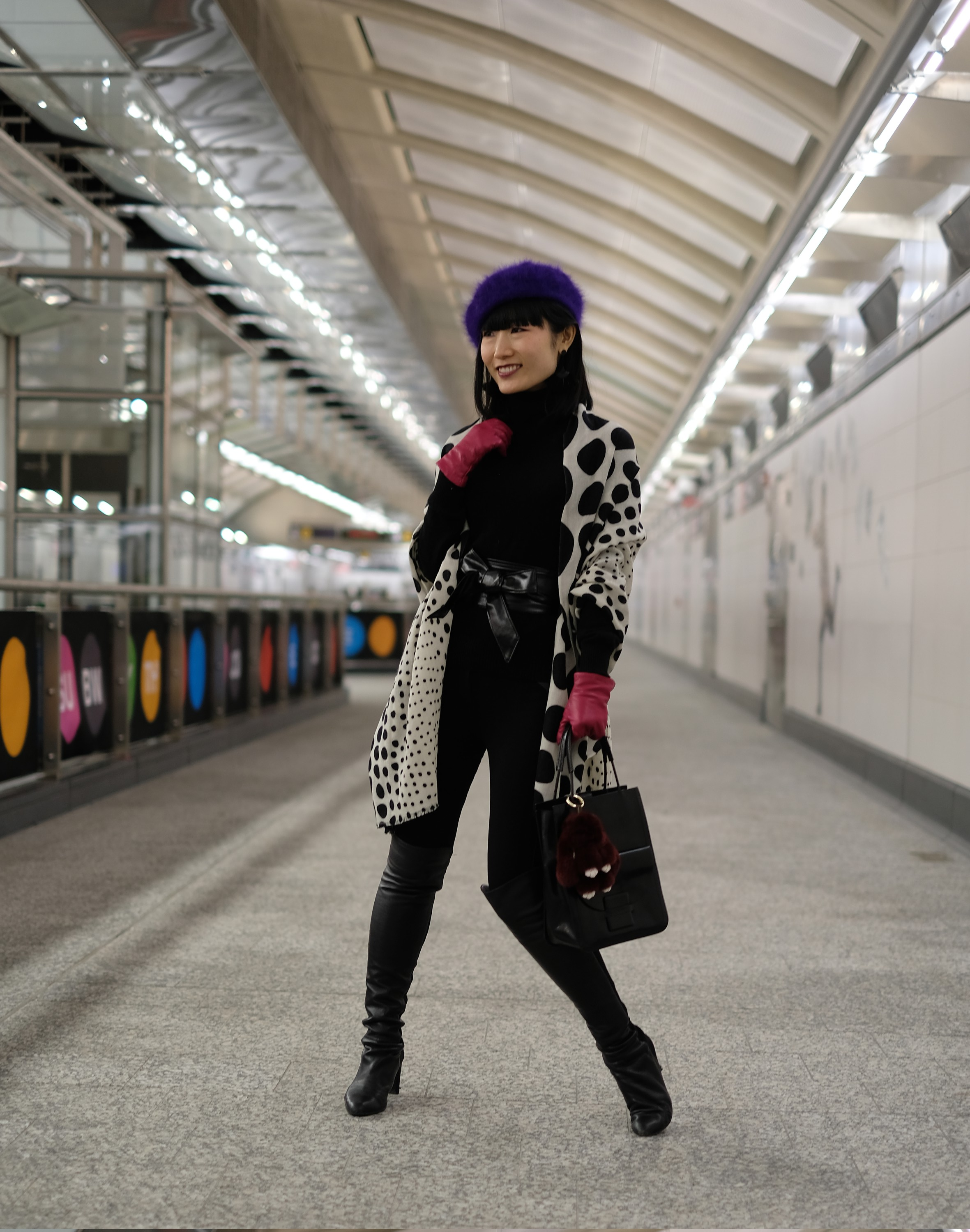 model in subway station