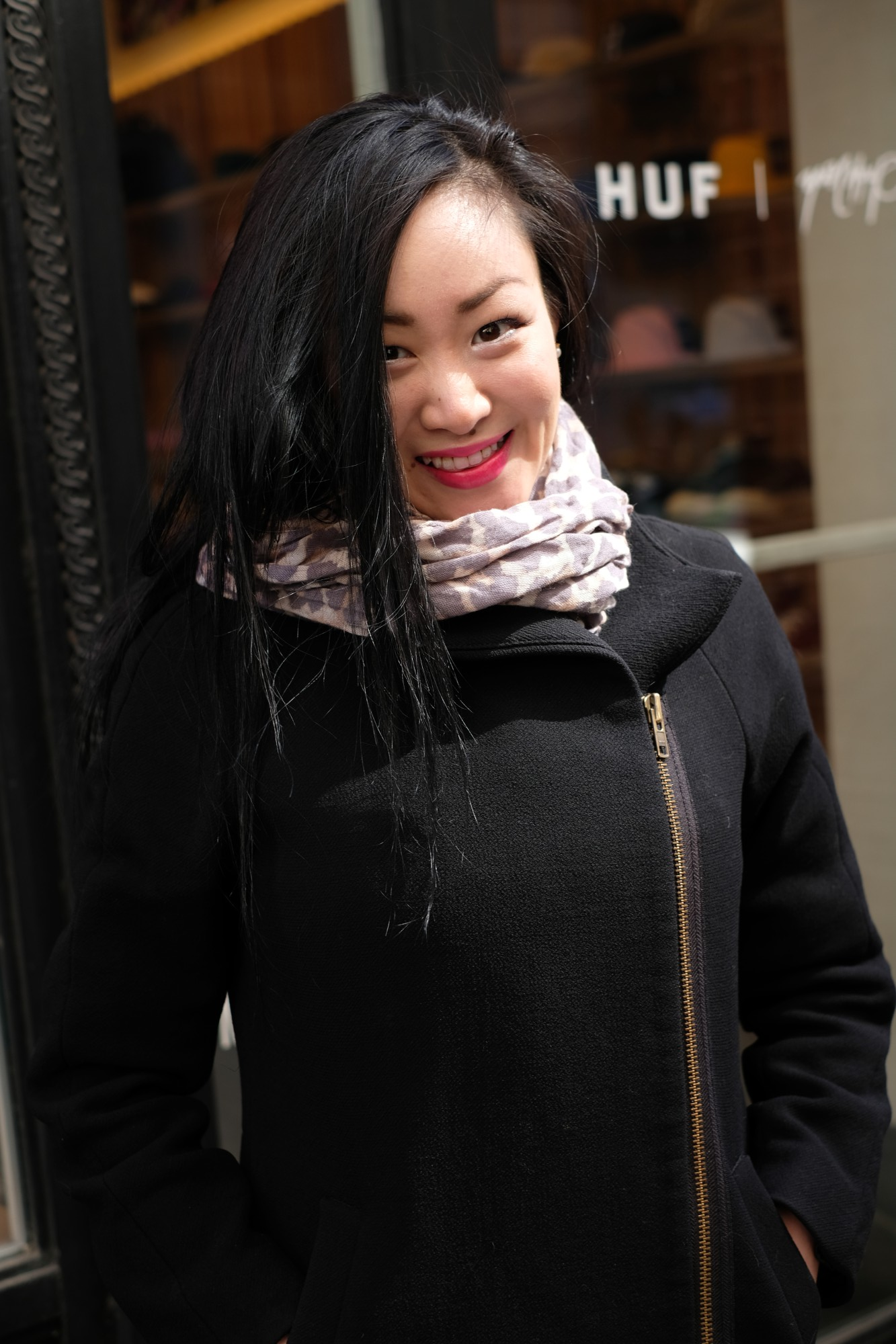 Asian girl in black outfit in NYC