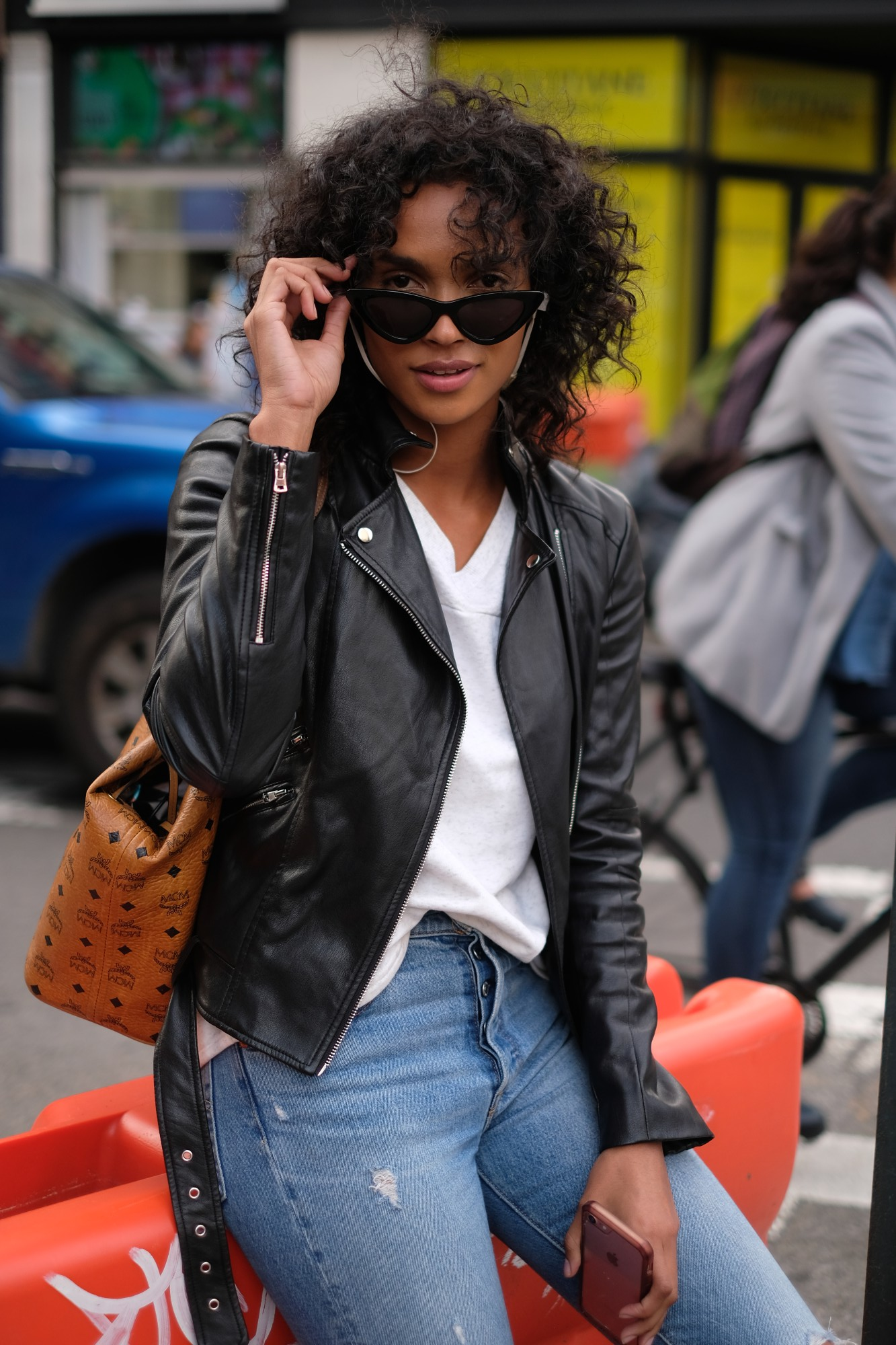 nyc model in leather jacket