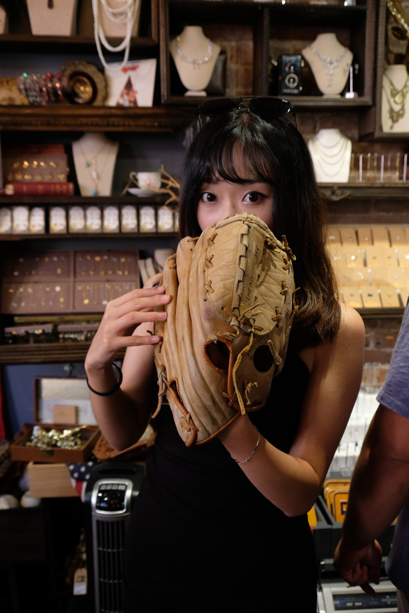 Chinese model with baseball glove